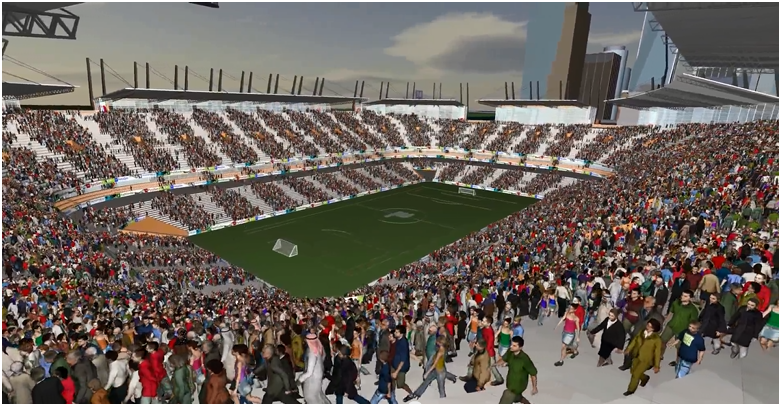 Simulation de piétons, évacuation d'un stade de 50 000 places avec Pathfinder.
